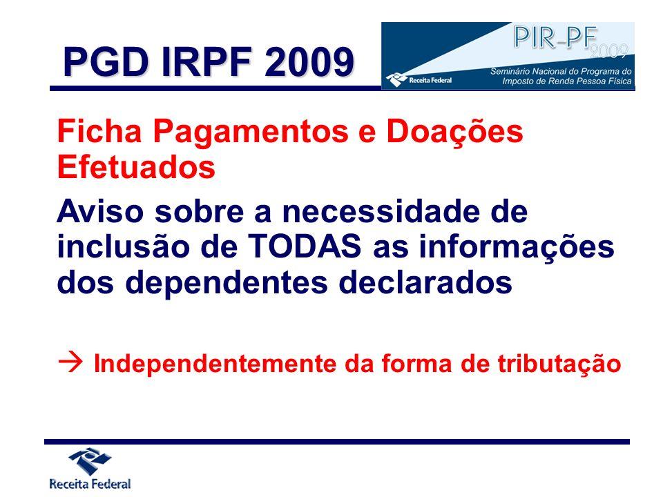 Ficha Pagamentos e Doações Efetuados Aviso sobre a necessidade de inclusão de TODAS as informações dos dependentes declarados Independentemente da for