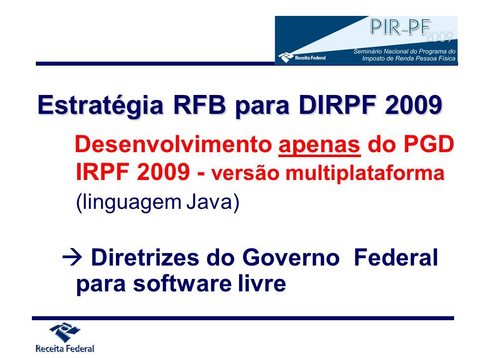 Estratégia RFB para DIRPF 2009 Desenvolvimento apenas do PGD IRPF 2009 - versão multiplataforma (linguagem Java) Diretrizes do Governo Federal para so