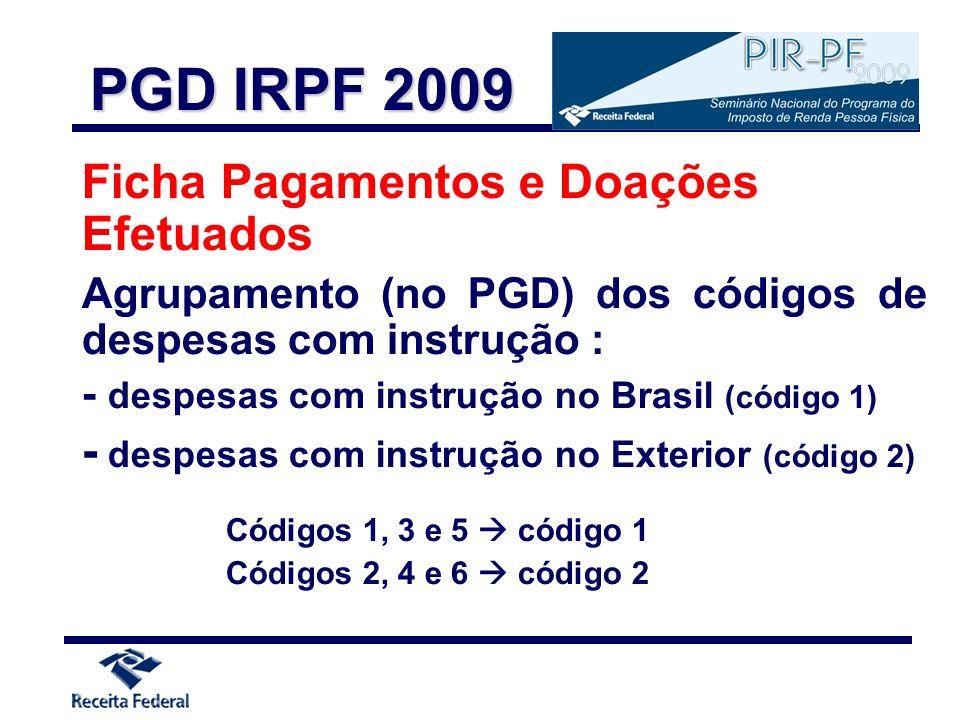 Ficha Pagamentos e Doações Efetuados Agrupamento (no PGD) dos códigos de despesas com instrução : - despesas com instrução no Brasil (código 1) - desp