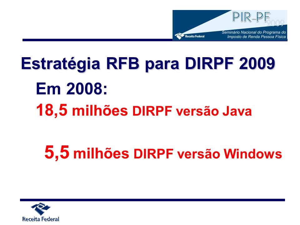 Acessibilidade Aprimoramento do PGD IRPF 2009 (Java) para facilitar sua utilização por deficientes visuais Uso do JAWS - software leitor de tela Manual de uso específico (em elaboração) a ser dispo- nibilizado com a matriz do CD-ROM do IRPF 2009 PGD IRPF 2009