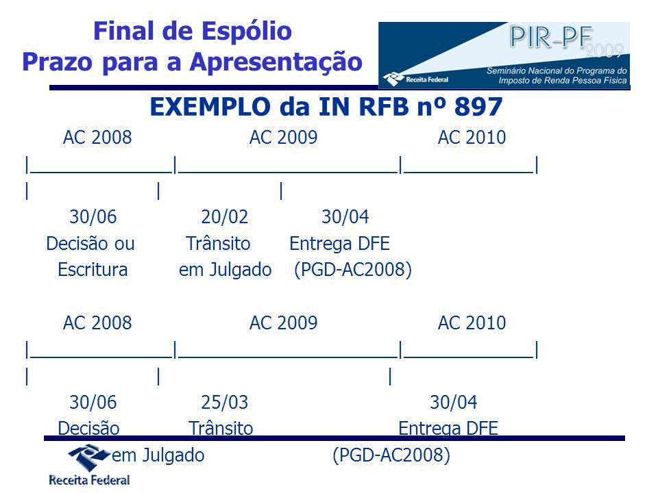 EXEMPLO da IN RFB nº 897 AC 2008 AC 2009 AC 2010 |______________|______________________|_____________| || | 30/06 20/02 30/04 Decisão ou Trânsito Entr