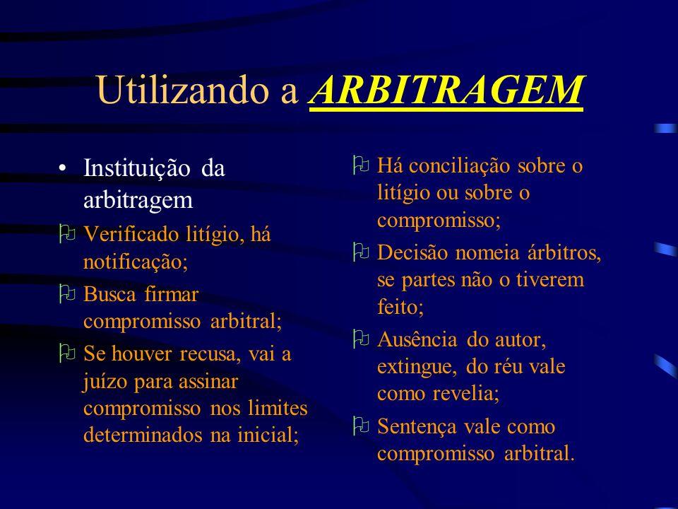Utilizando a ARBITRAGEM Instituição da arbitragem Verificado litígio, há notificação; Busca firmar compromisso arbitral; Se houver recusa, vai a juízo