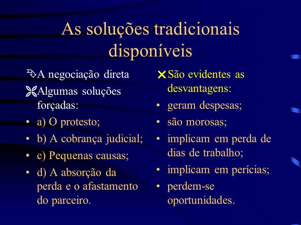As soluções tradicionais disponíveis ÊA negociação direta ËAlgumas soluções forçadas: a) O protesto; b) A cobrança judicial; c) Pequenas causas; d) A