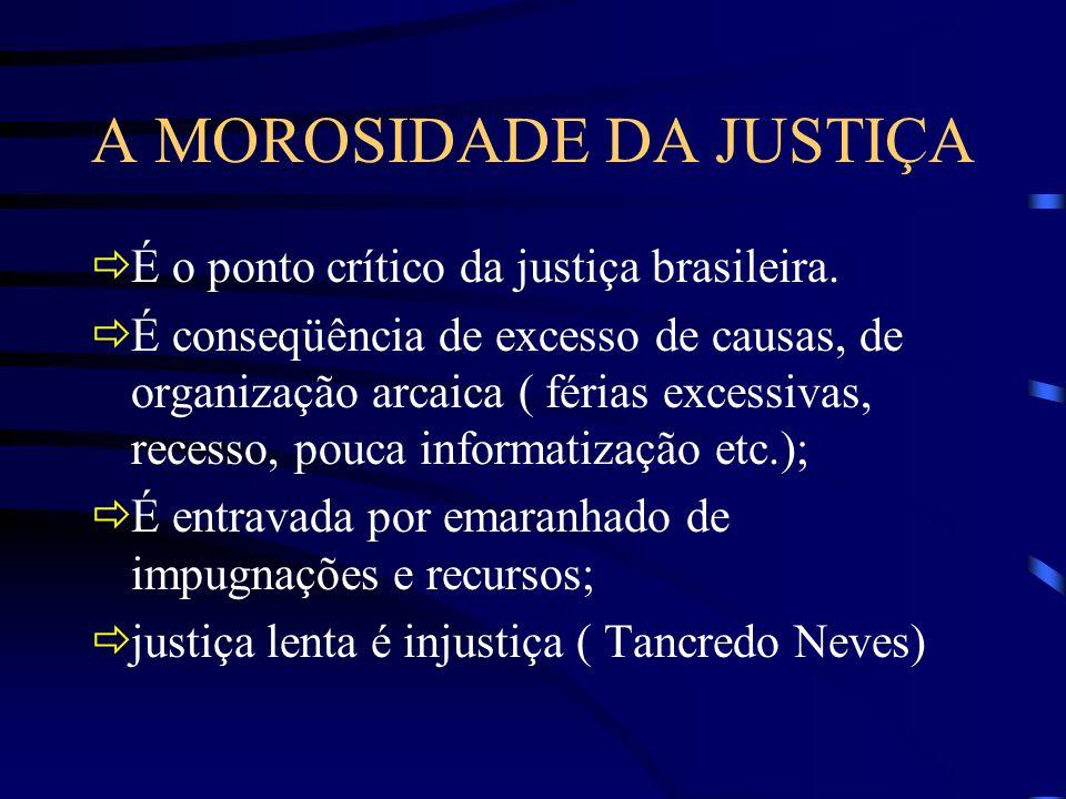A MOROSIDADE DA JUSTIÇA É o ponto crítico da justiça brasileira. É conseqüência de excesso de causas, de organização arcaica ( férias excessivas, rece