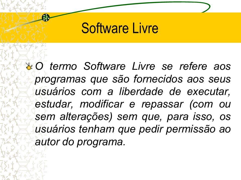 Software Livre O termo Software Livre se refere aos programas que são fornecidos aos seus usuários com a liberdade de executar, estudar, modificar e r