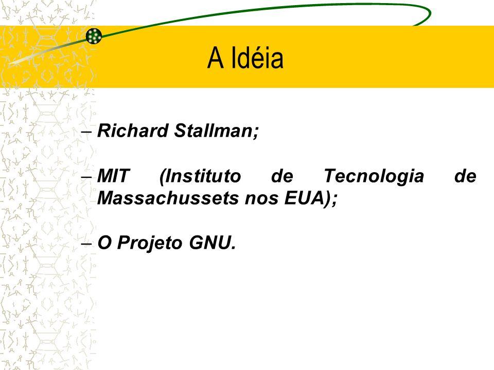 A Idéia –Richard Stallman; –MIT (Instituto de Tecnologia de Massachussets nos EUA); –O Projeto GNU.