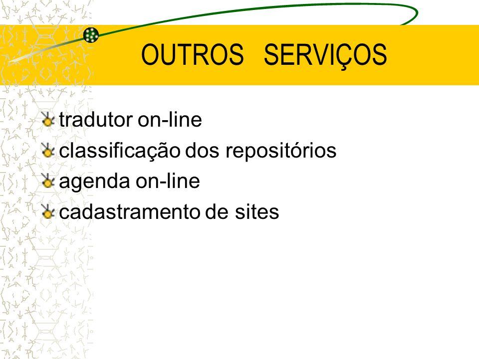 OUTROS SERVIÇOS tradutor on-line classificação dos repositórios agenda on-line cadastramento de sites
