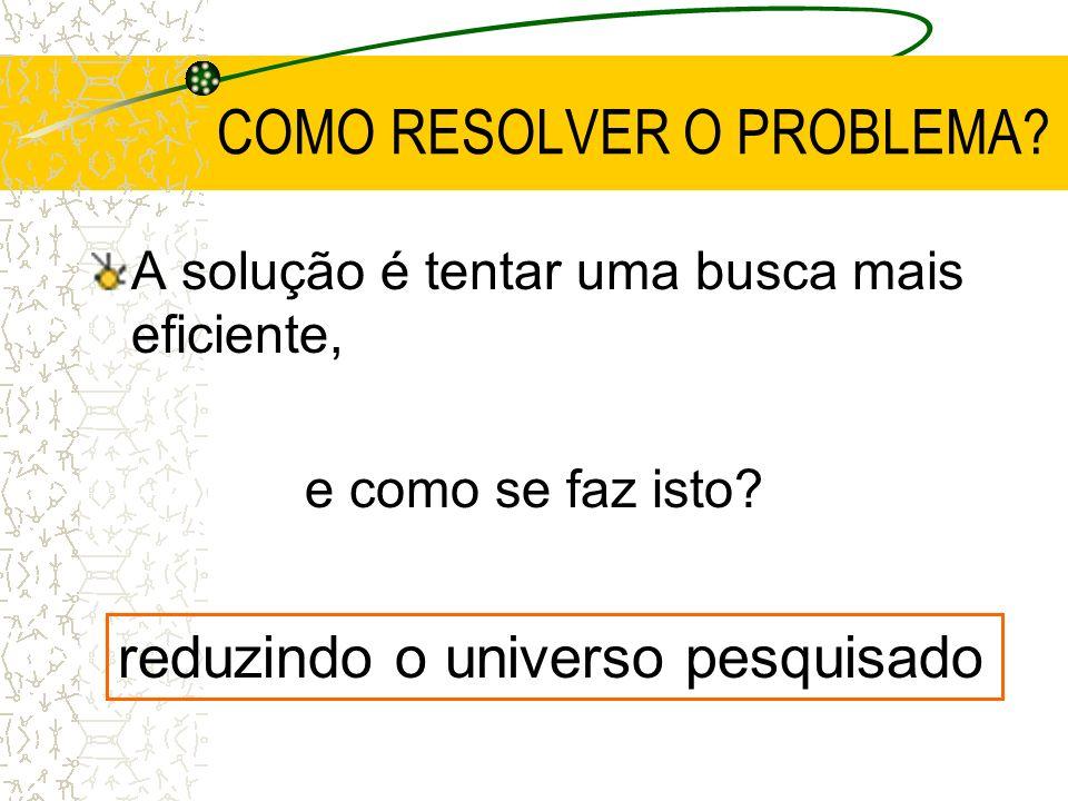 COMO RESOLVER O PROBLEMA? A solução é tentar uma busca mais eficiente, e como se faz isto? reduzindo o universo pesquisado