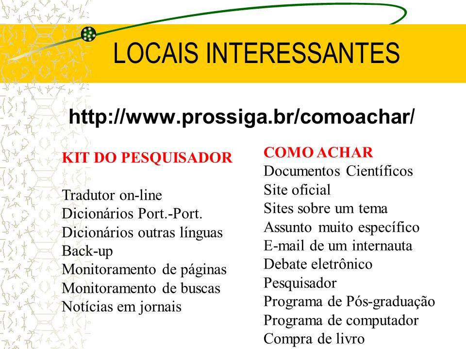 LOCAIS INTERESSANTES http://www.prossiga.br/comoachar / KIT DO PESQUISADOR Tradutor on-line Dicionários Port.-Port. Dicionários outras línguas Back-up