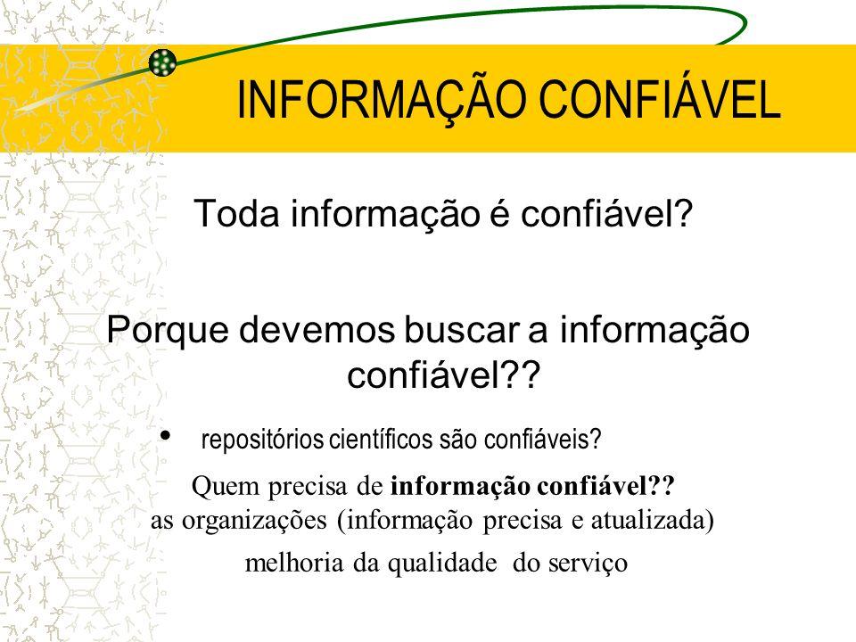 INFORMAÇÃO CONFIÁVEL Toda informação é confiável? Porque devemos buscar a informação confiável?? repositórios científicos são confiáveis? Quem precisa