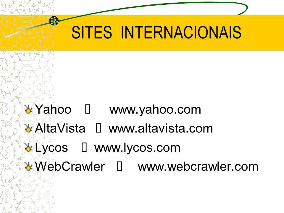 SITES INTERNACIONAIS Yahoo í www.yahoo.com AltaVista í www.altavista.com Lycos í www.lycos.com WebCrawler í www.webcrawler.com