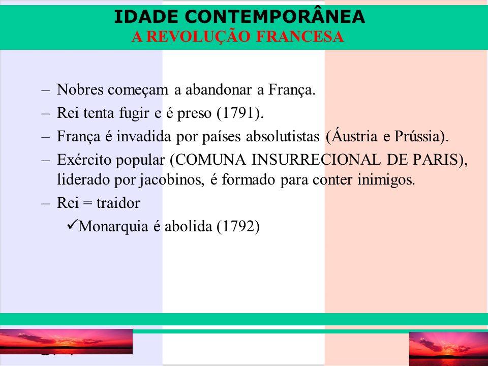 IDADE CONTEMPORÂNEA Prof. Iair iair@pop.com.br A REVOLUÇÃO FRANCESA –Nobres começam a abandonar a França. –Rei tenta fugir e é preso (1791). –França é