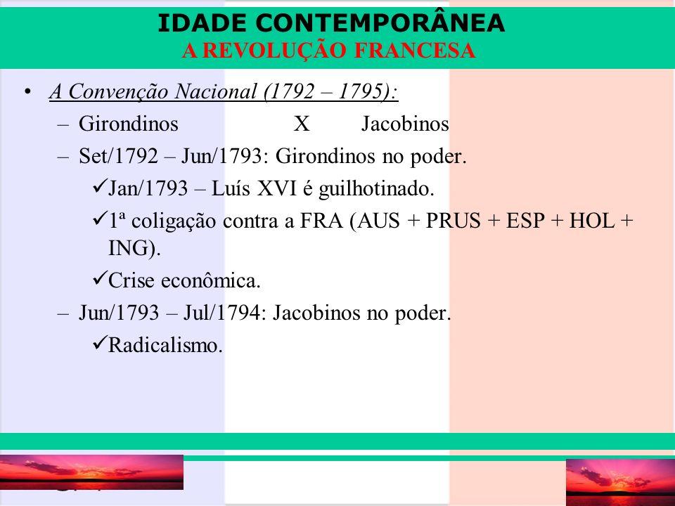 IDADE CONTEMPORÂNEA Prof. Iair iair@pop.com.br A REVOLUÇÃO FRANCESA A Convenção Nacional (1792 – 1795): –GirondinosXJacobinos –Set/1792 – Jun/1793: Gi