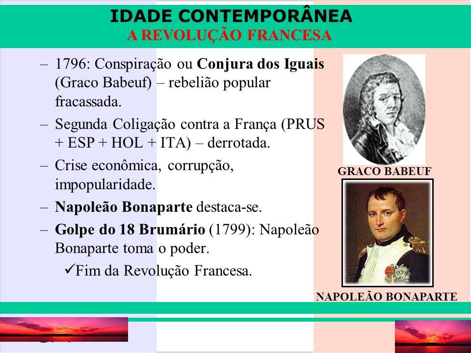 IDADE CONTEMPORÂNEA Prof. Iair iair@pop.com.br A REVOLUÇÃO FRANCESA –1796: Conspiração ou Conjura dos Iguais (Graco Babeuf) – rebelião popular fracass