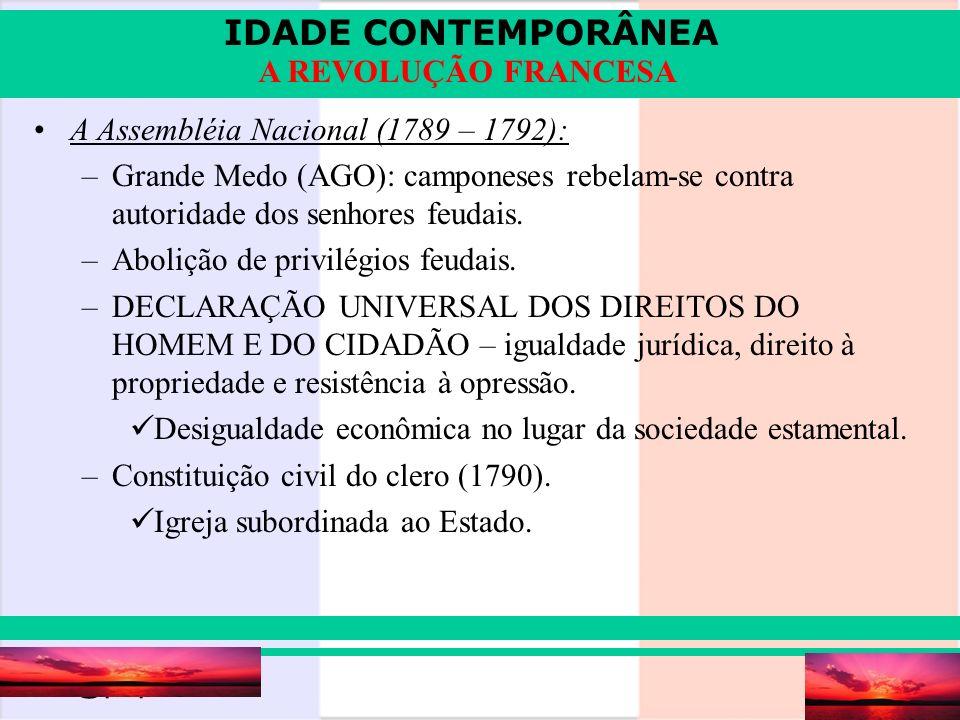 IDADE CONTEMPORÂNEA Prof. Iair iair@pop.com.br A REVOLUÇÃO FRANCESA A Assembléia Nacional (1789 – 1792): –Grande Medo (AGO): camponeses rebelam-se con