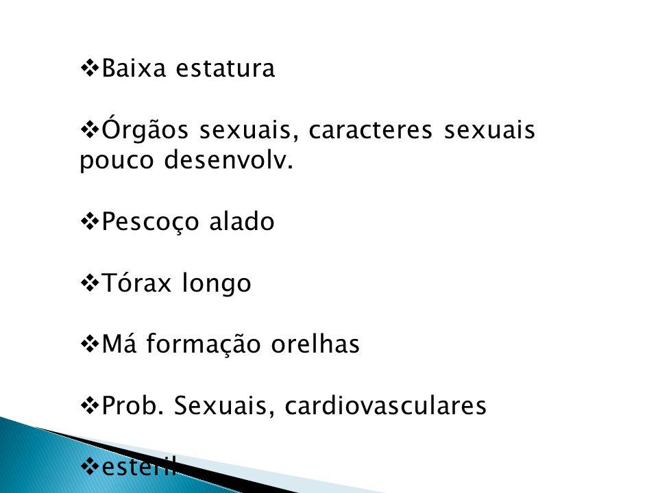 Baixa estatura Órgãos sexuais, caracteres sexuais pouco desenvolv. Pescoço alado Tórax longo Má formação orelhas Prob. Sexuais, cardiovasculares estér