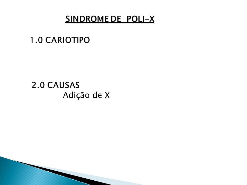 SINDROME DE POLI-X 1.0 CARIOTIPO 2.0 CAUSAS Adição de X