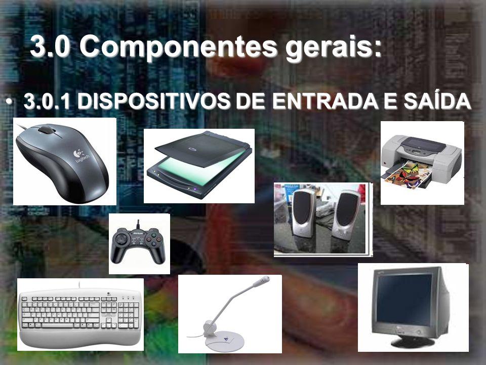 3.0 Componentes gerais: 3.0.1 DISPOSITIVOS DE ENTRADA E SAÍDA3.0.1 DISPOSITIVOS DE ENTRADA E SAÍDA