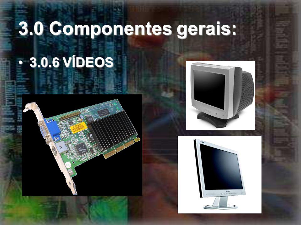 3.0 Componentes gerais: 3.0.6 VÍDEOS3.0.6 VÍDEOS