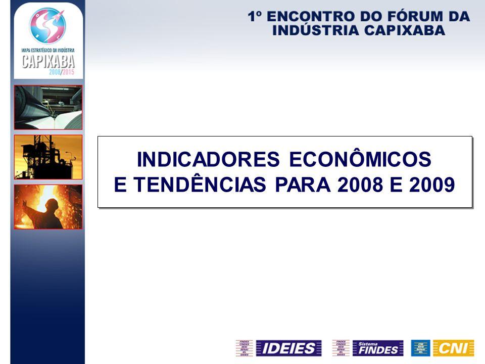 PARÂMETROS 20082009 29 de julhoAtual29 de julhoAtual IPCA6,54%6,32%5,00% PIB4,80% 3,90%3,60% Balança ComercialUS$ 23,00 biUS$ 23,50 biUS$ 15,00 biUS$ 14,25 bi Taxa de Câmbio MédiaR$ 1,65 R$ 1,70R$ 1,68 Produção Industrial5,46%5,45%4,50%4,20% Taxa SELIC14,50%14,75%14,00% O relatório FOCUS é um informe que relata as projeções do mercado com base em consulta a aproximadamente cem instituições financeiras durante a semana anterior.