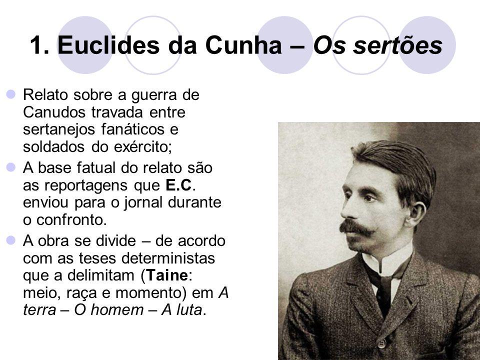 Vestibular1 – www.vestibular1.com.br 1. Euclides da Cunha – Os sertões Relato sobre a guerra de Canudos travada entre sertanejos fanáticos e soldados