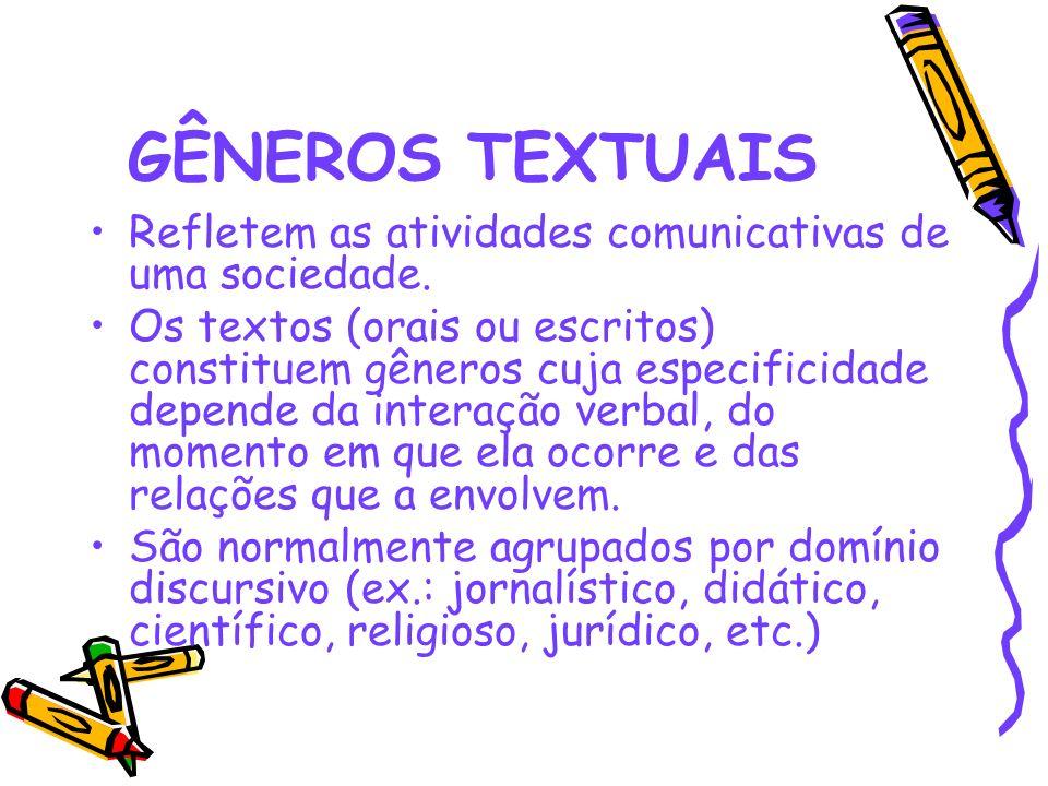 GÊNEROS TEXTUAIS Refletem as atividades comunicativas de uma sociedade. Os textos (orais ou escritos) constituem gêneros cuja especificidade depende d