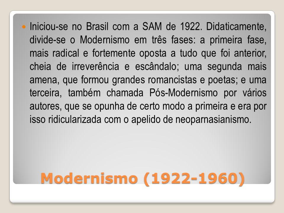Modernismo (1922-1960) Iniciou-se no Brasil com a SAM de 1922. Didaticamente, divide-se o Modernismo em três fases: a primeira fase, mais radical e fo