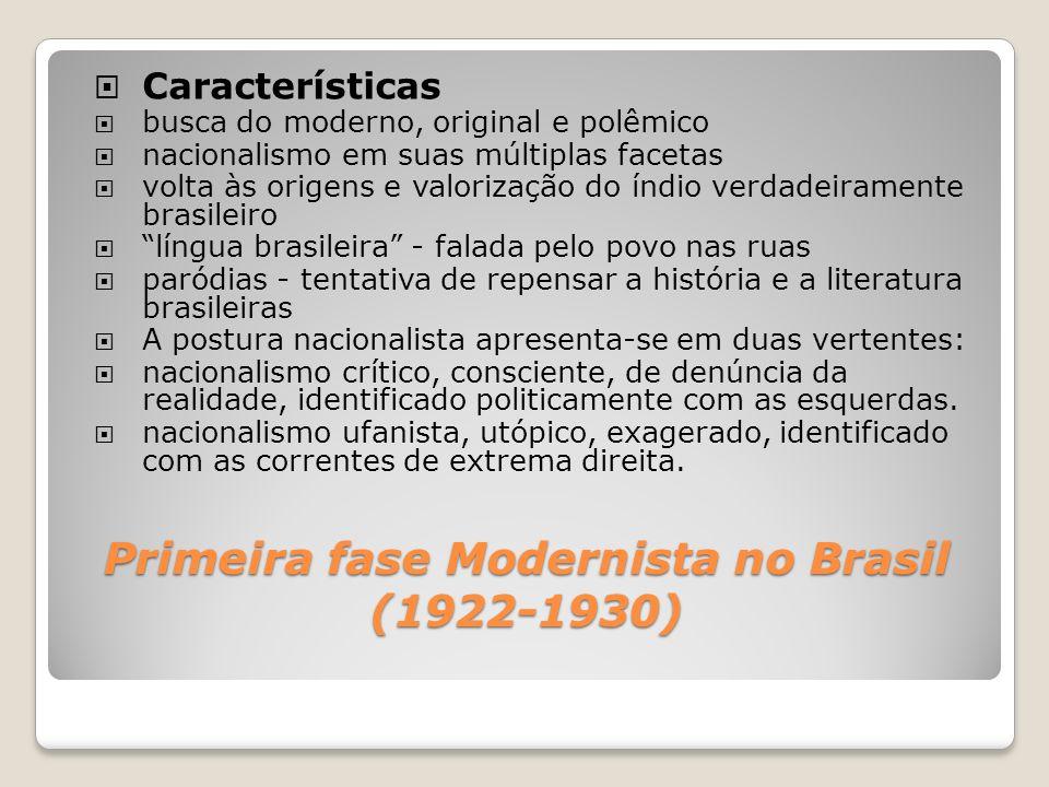 Primeira fase Modernista no Brasil (1922-1930) Características busca do moderno, original e polêmico nacionalismo em suas múltiplas facetas volta às o