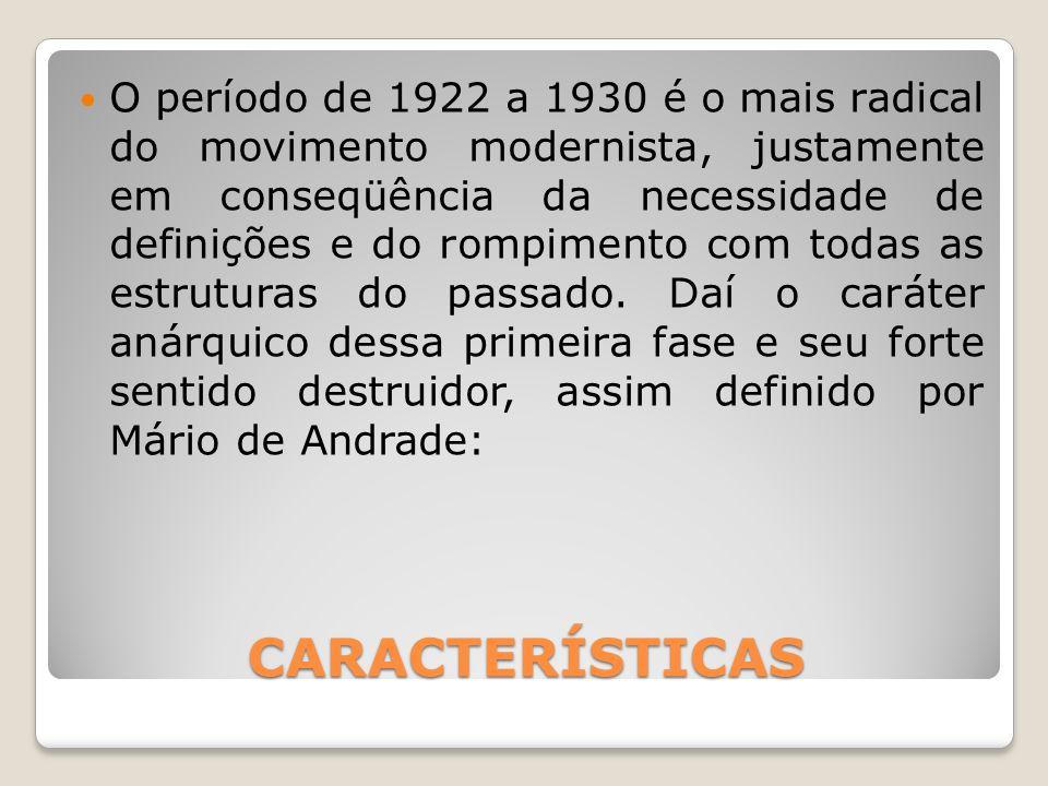 CARACTERÍSTICAS O período de 1922 a 1930 é o mais radical do movimento modernista, justamente em conseqüência da necessidade de definições e do rompim