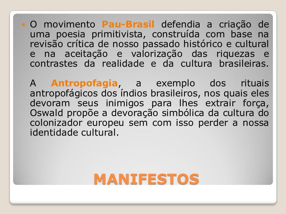 MANIFESTOS MANIFESTOS O movimento Pau-Brasil defendia a criação de uma poesia primitivista, construída com base na revisão crítica de nosso passado hi