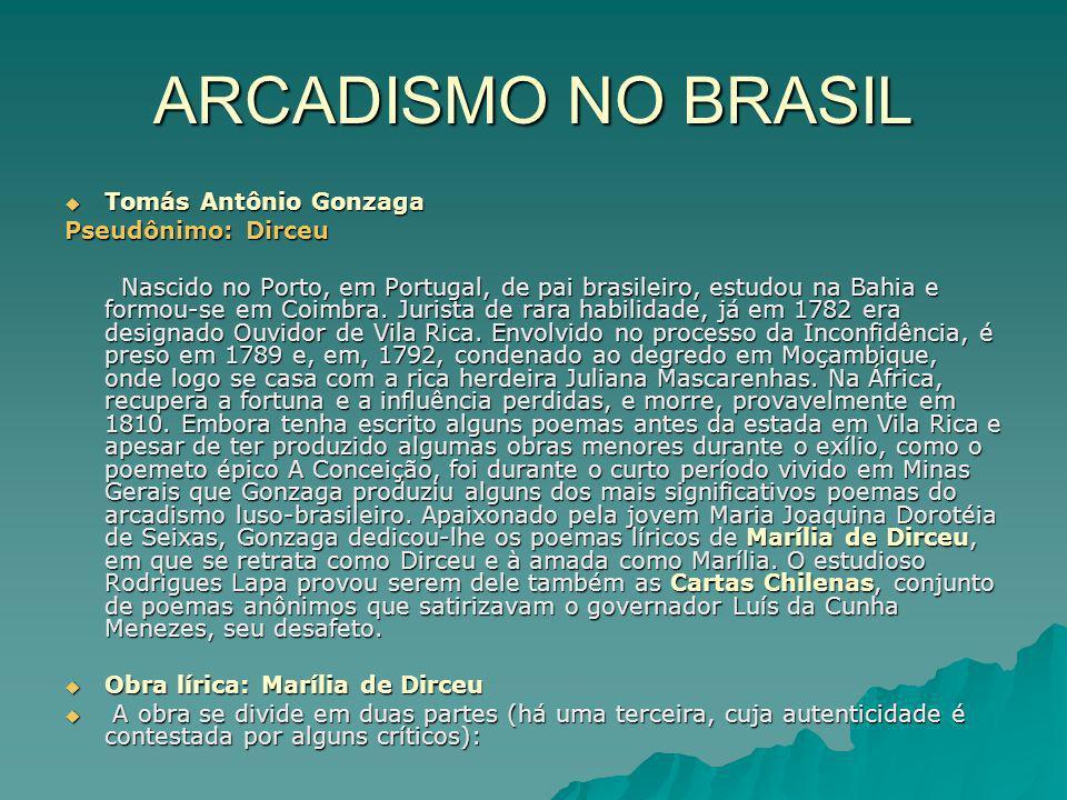 ARCADISMO NO BRASIL Tomás Antônio Gonzaga Tomás Antônio Gonzaga Pseudônimo: Dirceu Nascido no Porto, em Portugal, de pai brasileiro, estudou na Bahia
