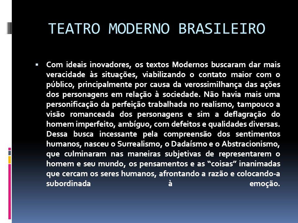 TEATRO MODERNO BRASILEIRO Com ideais inovadores, os textos Modernos buscaram dar mais veracidade às situações, viabilizando o contato maior com o públ