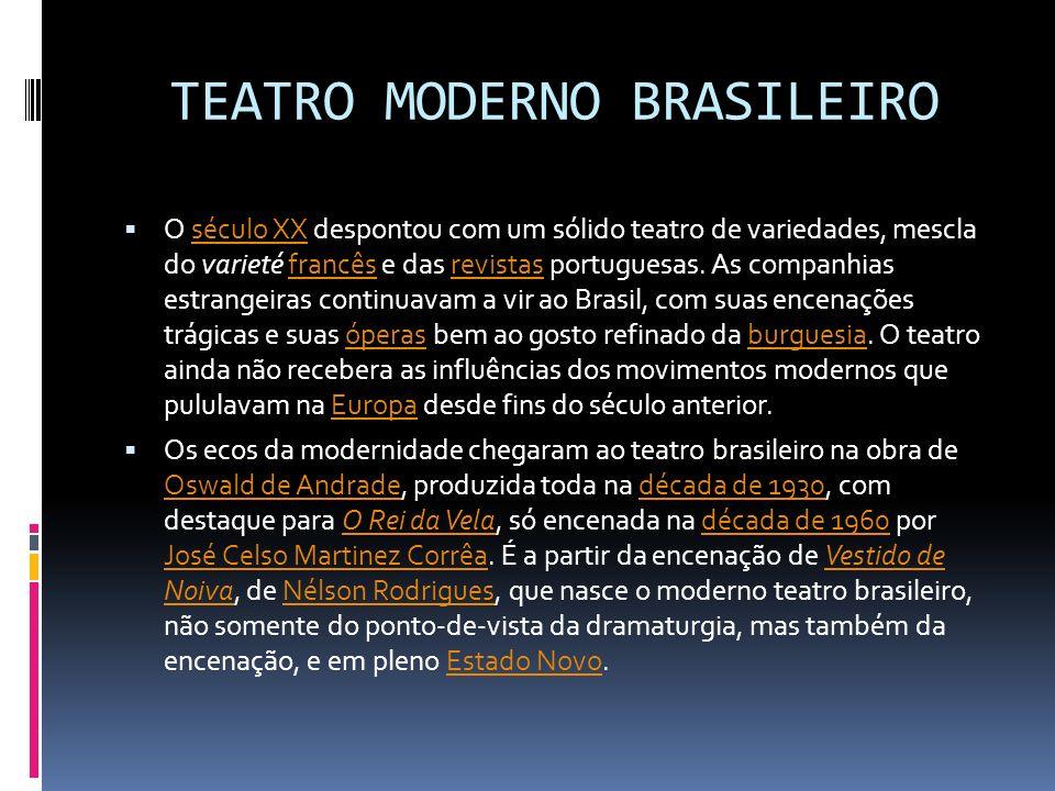 TEATRO MODERNO BRASILEIRO O século XX despontou com um sólido teatro de variedades, mescla do varieté francês e das revistas portuguesas. As companhia