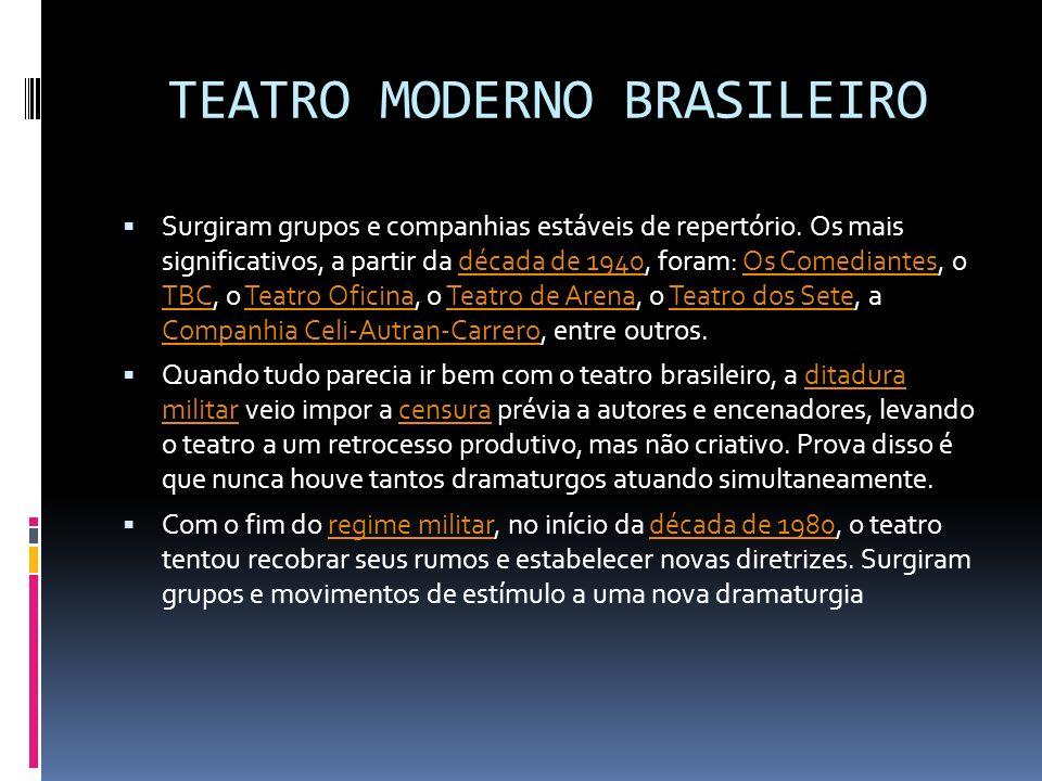 TEATRO MODERNO BRASILEIRO Surgiram grupos e companhias estáveis de repertório. Os mais significativos, a partir da década de 1940, foram: Os Comediant