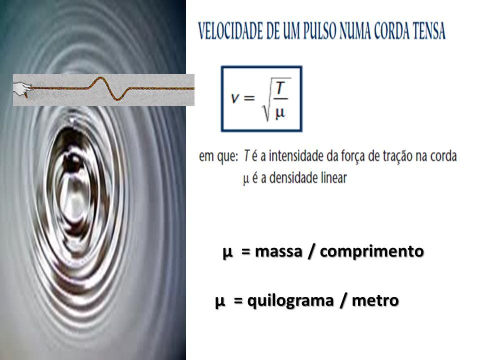 µ = massa / comprimento µ = quilograma / metro