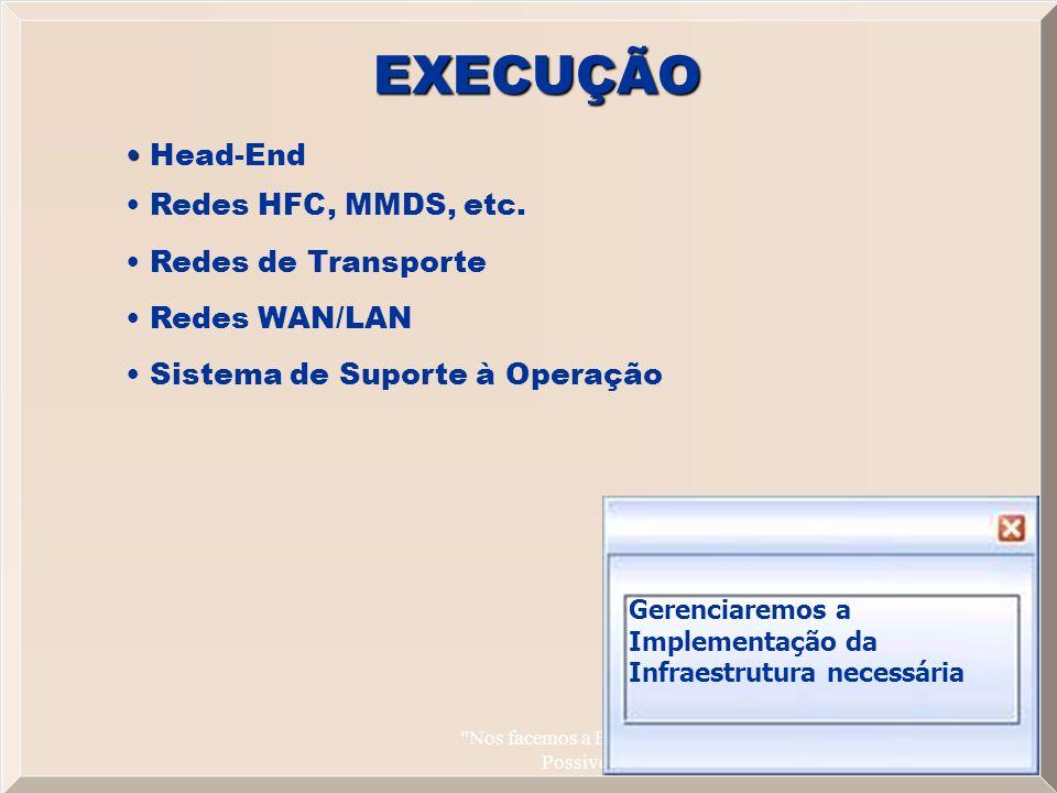 Nos facemos a Banda Larga Possivel 11 EXECUÇÃO Head-End Redes HFC, MMDS, etc.