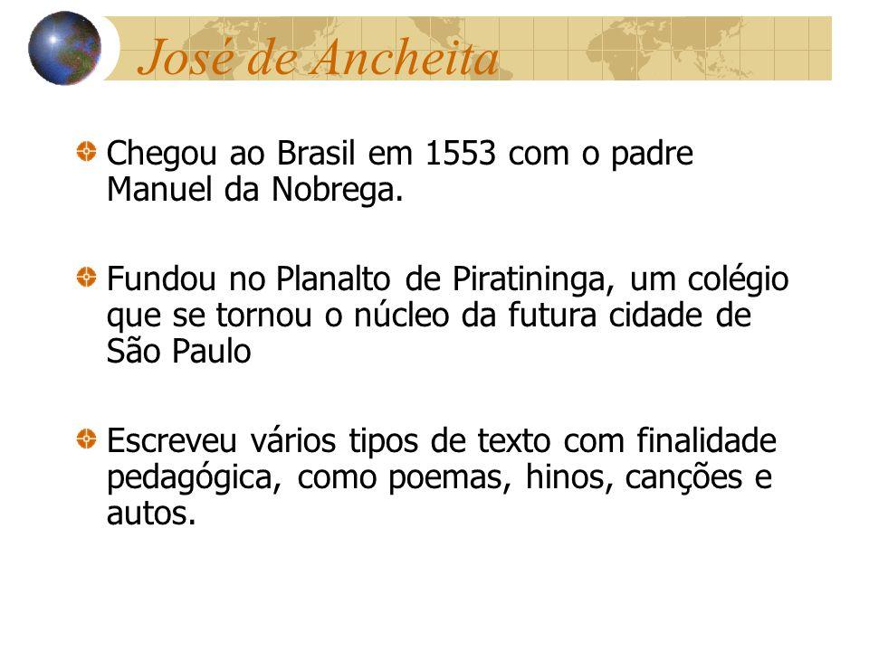 José de Ancheita Chegou ao Brasil em 1553 com o padre Manuel da Nobrega. Fundou no Planalto de Piratininga, um colégio que se tornou o núcleo da futur
