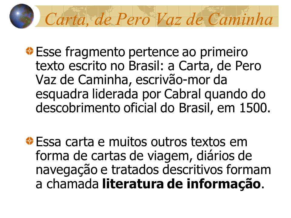 Carta, de Pero Vaz de Caminha Esse fragmento pertence ao primeiro texto escrito no Brasil: a Carta, de Pero Vaz de Caminha, escrivão-mor da esquadra l