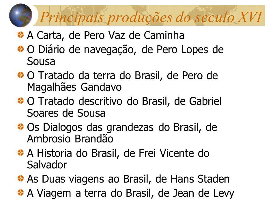 Principais produções do seculo XVI A Carta, de Pero Vaz de Caminha O Diário de navegação, de Pero Lopes de Sousa O Tratado da terra do Brasil, de Pero