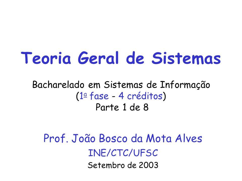 Prof. João Bosco da Mota AlvesINE/CTC/UFSC - Teoria Geral de Sistemas1 Teoria Geral de Sistemas Bacharelado em Sistemas de Informação (1 a fase - 4 cr