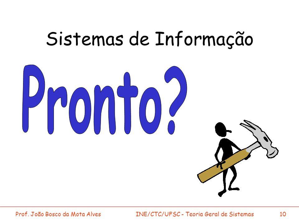 Prof. João Bosco da Mota AlvesINE/CTC/UFSC - Teoria Geral de Sistemas10 Sistemas de Informação