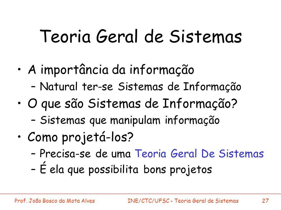 Prof. João Bosco da Mota AlvesINE/CTC/UFSC - Teoria Geral de Sistemas27 Teoria Geral de Sistemas A importância da informação –Natural ter-se Sistemas