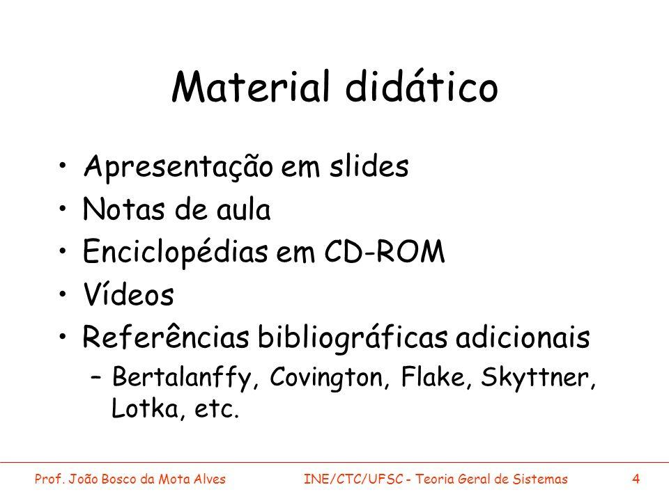 Prof. João Bosco da Mota AlvesINE/CTC/UFSC - Teoria Geral de Sistemas4 Material didático Apresentação em slides Notas de aula Enciclopédias em CD-ROM