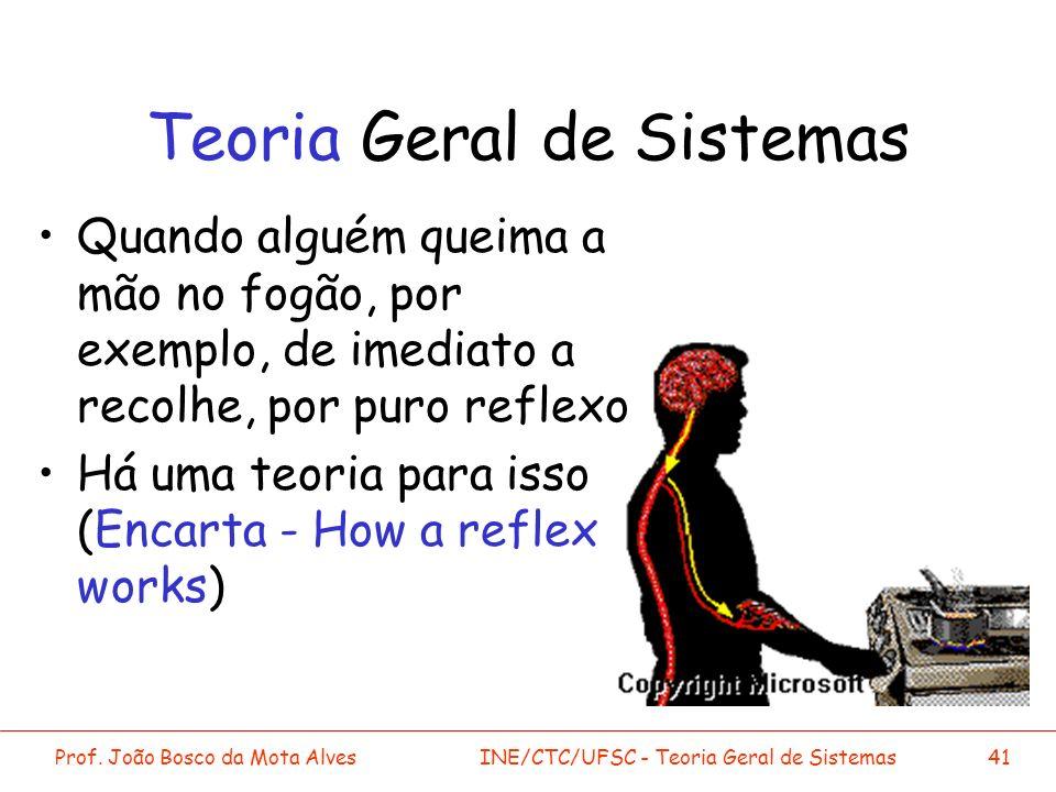Prof. João Bosco da Mota AlvesINE/CTC/UFSC - Teoria Geral de Sistemas41 Teoria Geral de Sistemas Quando alguém queima a mão no fogão, por exemplo, de