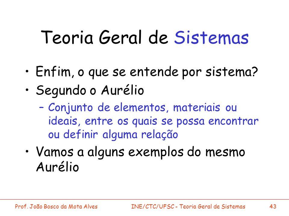 Prof. João Bosco da Mota AlvesINE/CTC/UFSC - Teoria Geral de Sistemas43 Teoria Geral de Sistemas Enfim, o que se entende por sistema? Segundo o Auréli