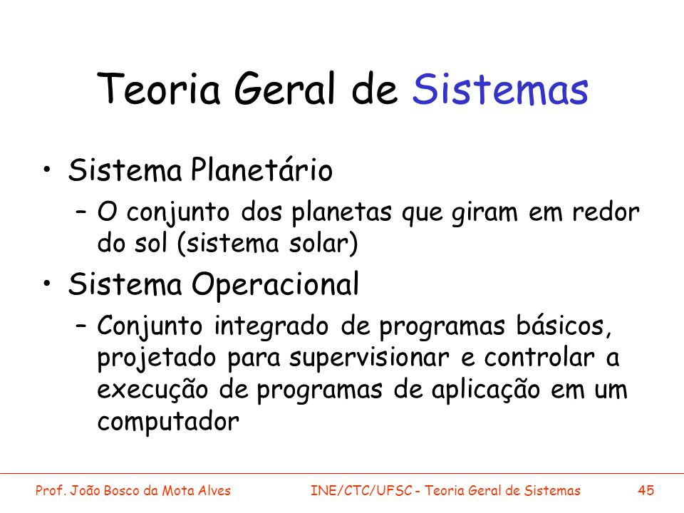 Prof. João Bosco da Mota AlvesINE/CTC/UFSC - Teoria Geral de Sistemas45 Teoria Geral de Sistemas Sistema Planetário –O conjunto dos planetas que giram