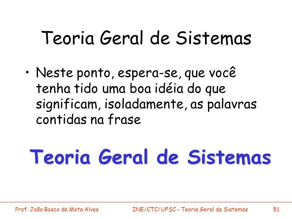 Prof. João Bosco da Mota AlvesINE/CTC/UFSC - Teoria Geral de Sistemas51 Teoria Geral de Sistemas Neste ponto, espera-se, que você tenha tido uma boa i