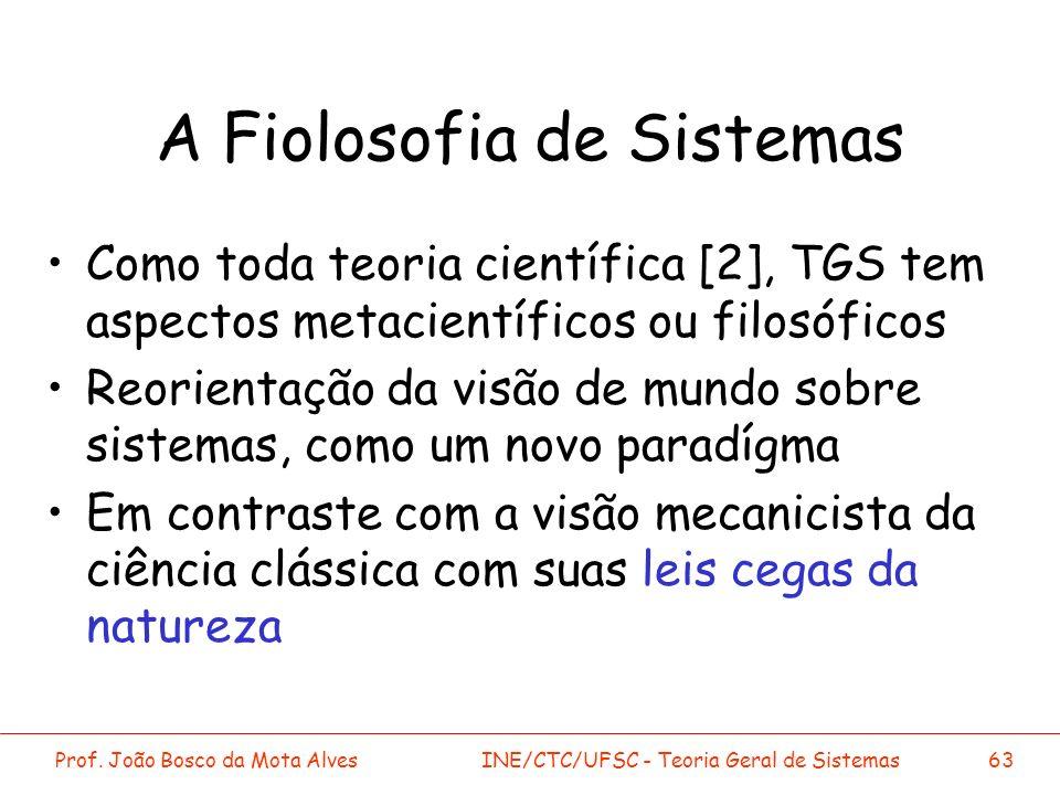 Prof. João Bosco da Mota AlvesINE/CTC/UFSC - Teoria Geral de Sistemas63 A Fiolosofia de Sistemas Como toda teoria científica [2], TGS tem aspectos met