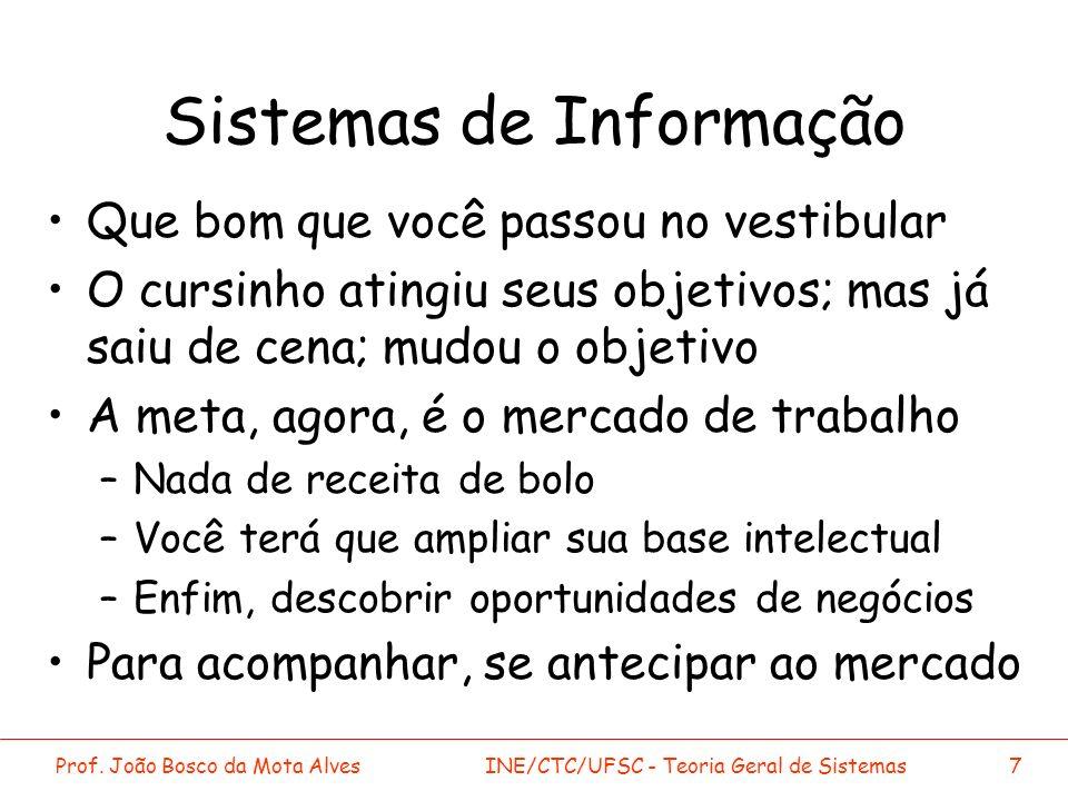 Prof. João Bosco da Mota AlvesINE/CTC/UFSC - Teoria Geral de Sistemas7 Sistemas de Informação Que bom que você passou no vestibular O cursinho atingiu