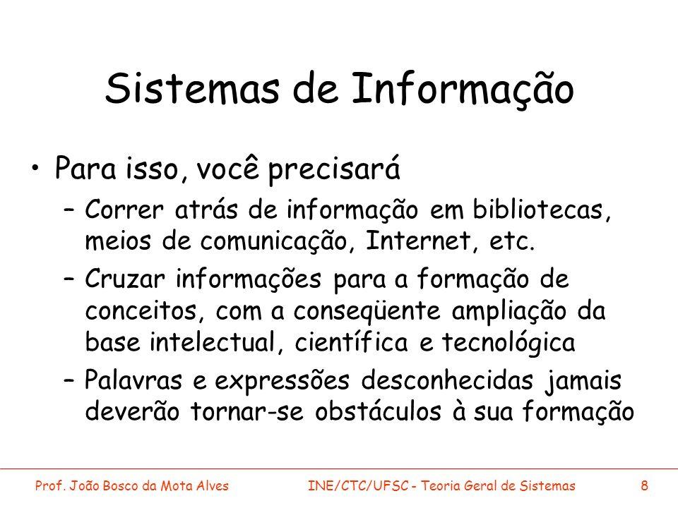 Prof. João Bosco da Mota AlvesINE/CTC/UFSC - Teoria Geral de Sistemas8 Sistemas de Informação Para isso, você precisará –Correr atrás de informação em